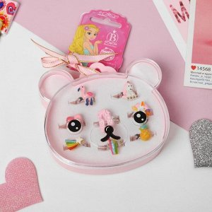 """Набор колец детских """"Мишка"""" фламинго и единорожки, форма МИКС, цветные"""