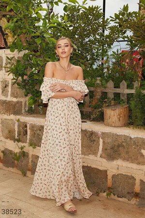 Платье-макси в минималистичный принт