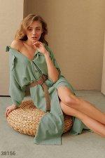 Мятное платье-рубашка с поясом
