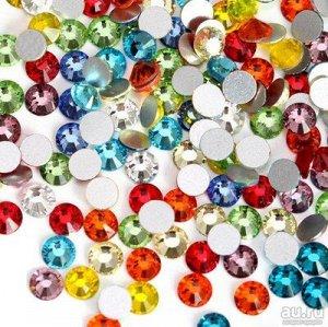 Камни дизайн микс размер и цвет  (стекло) Ss3-Ss16
