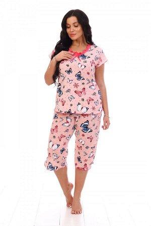 Пижама Цвет: Розовый; Ткань: Кулирка; Состав: 100% хлопок; Размеры: 42, 44, 46, 48, 50, 52