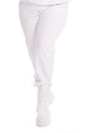 Брюки-4601 Модель брюк: Спортивные; Материал: Трикотаж;   Фасон: Брюки; Параметры модели: Рост 168 см, Размер 54 Брюки спортивные трикотажные белые Универсальные и невероятно комфортные брюки из мягко
