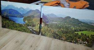 Картина с пейзажем из 2х предметов. Реальное фото
