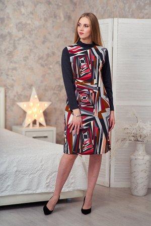 Платье комбинированное абстракция