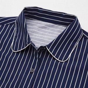 Женская пижама в полоску, синий