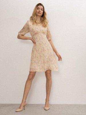 Платье с цветочным принтом PL1124/crema