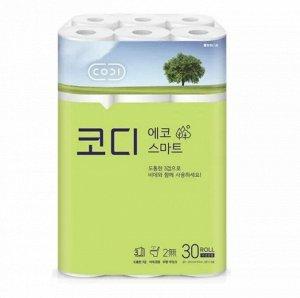 "Мягкая туалетная бумага ""CODI - ECO Smart"" (трехслойная, с тиснёным рисунком)  22 м х 30 рулонов"