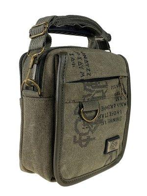 Маленькая мужская сумка из брезента, цвет хаки