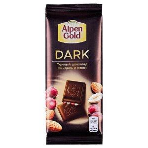 Шоколад Альпен Гольд Дарк Миндаль Изюм 80 г 1 уп.х 22 шт.