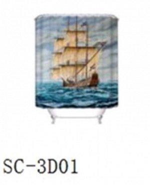 Штора д/ванной 3D 180*180 Корабль 100% полиэстер /Арт.SC-3D01/317590/ MZ