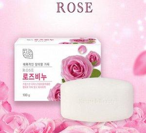 """Успокаивающее и увлажняющее туалетное мыло с экстрактом дамасской розы """"Rose Beauty Soap"""" (кусок 100 г) / 48"""