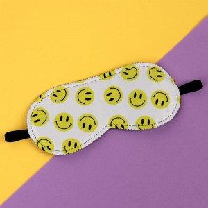 Маска для сна «SMILE», 19,8 ? 8,5 см, резинка одинарная, цвет белый/жёлтый