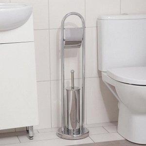 Ёрш для унитаза напольный Accoona, 21,5?21,5?81 см, с держателем для туалетной бумаги, цвет хром