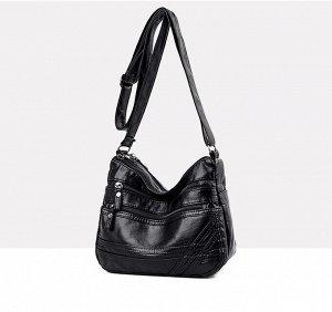 Женская мягкая сумочка, два кармана на лицевой стороне, цвет черный