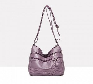 Женская мягкая сумочка, два кармана на лицевой стороне, цвет фиолетовый