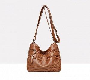 Женская мягкая сумочка, два кармана на лицевой стороне, цвет желто-коричневый