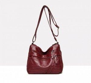 Женская мягкая сумочка, два кармана на лицевой стороне, цвет темно-красный