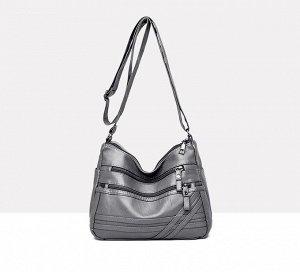 Женская мягкая сумочка, два кармана на лицевой стороне, цвет серый