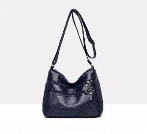 Женская мягкая сумочка, два кармана на лицевой стороне, цвет синий