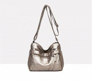 Женская мягкая сумочка, два кармана на лицевой стороне, цвет бронза