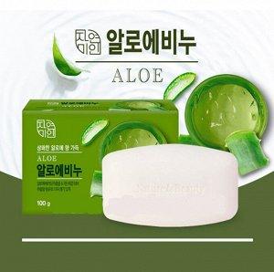 """Освежающее туалетное мыло с экстрактом Алоэ вера """"Fresh Aloe Soap"""" (кусок 100 г) / 48"""