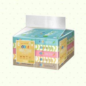 """Компактные бумажные салфетки """"Codi  Travel Tissue"""" (двухслойные) 70 листов х 10 упаковок / 210 х 153 мм  / 12"""