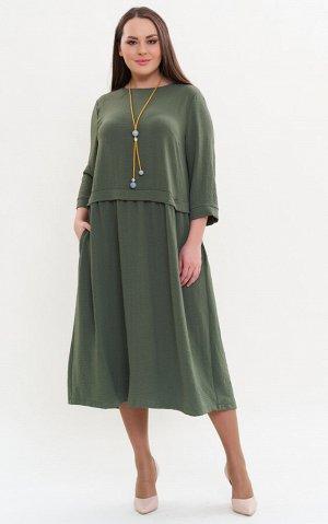 Платье хаки, зеленый,синий Коллекция: Весна/Лето Состав: 40%-вискоза; 55%-полиэстер; 5%-эластан Длина: от 120 см Описание:Свободное платье представлено в двух оттенках: болотный и синий. Перед изделия