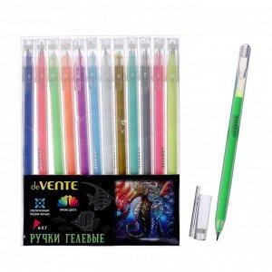 Набор гелевых ручек 12 цветов Pastel, deVENTE Kilometrico, подходят для рисования на черной бумаге, УВЕЛИЧЕННЫЙ объём чернил, длина 1200 м, 0.7 мм, одноразовые, в пластиковой упаковке с подвесом