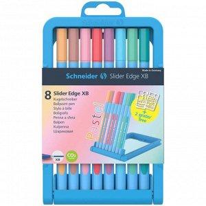 """Набор шариковых ручек Schneider """"Slider Edge"""", 8 штук, 8 пастельных цветов, 1,4 мм, трехгранная, пластиковый футляр"""