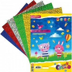 Картон цветной голографический, фольгированный, А4, 5 листов х 5 цветов, deVENTE 250г/м?, в пластиковом пакете с европодвесом