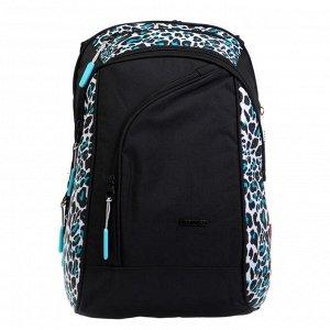 Рюкзак молодёжный, Merlin, 45 x 30 x 14 см, эргономичная спинка, чёрный/бирюзовый