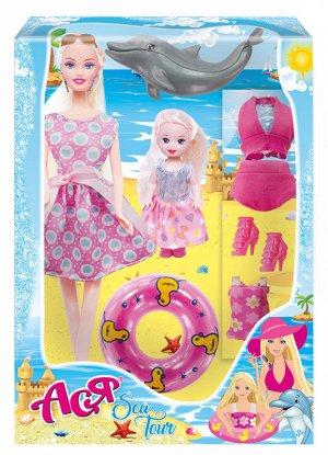 """Кукла Ася """"Морское приключение"""" набор с мини куклой арт.35103"""