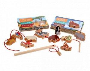 """MAPACHA. 76843 Развивающая игра 4в1 """"Мир животных"""" (шнуровка, вкладыш, рыбалка, обучающие карточки)"""