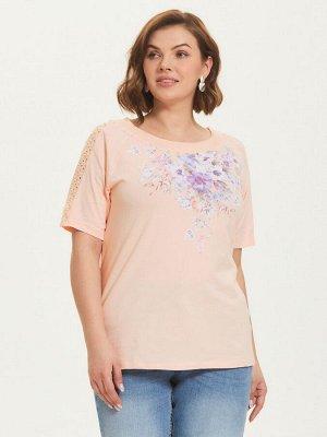 Фуфайка (футболка) жен  Floral Shadow персиковый