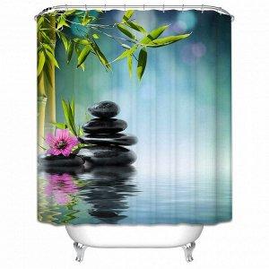 Штора д/ванной 3D 180*180 Камни 100% полиэстер /Арт.SC-3D04/317620/ MZ