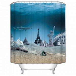 Штора д/ванной 3D 180*180 Морское дно 100% полиэстер /Арт.SC-3D02/317606/ MZ