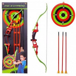 Игровой набор Abtoys Лук со стрелами на присосках, 3 стрелы, лук и мишень1710