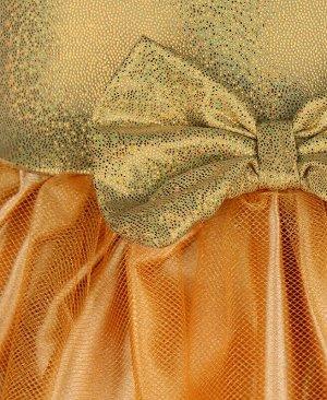 Нарядное золотое платье с сеткой для девочки Цвет: золотой