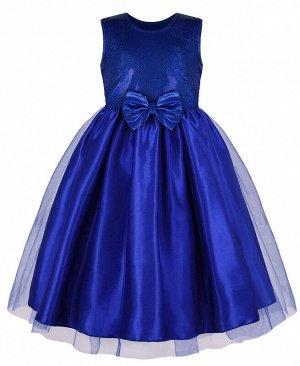 Нарядное синее платье с сеткой-вуалью для девочки Цвет: синий