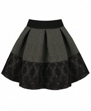 Школьная юбка со складками и гипюром для девочки Цвет: тёмно-серый
