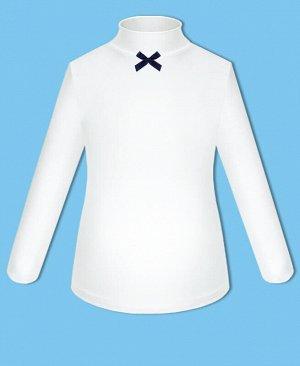 Школьная водолазка для девочки с синим бантом Цвет: белый