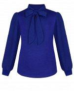 Синий джемпер(блузка)для девочки с бантом-галстуком Цвет: синий