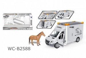 """Машинка """"Перевозка лошадей"""", с открывающими дверцами, фигуркой лошадки, со световыми и звуковыми эффектами, 39x12x1743"""