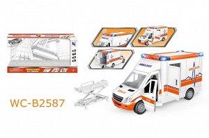 """Машинка """"Скорая помощь"""", с открывающими дверцами, складной каталкой для перевозки больного, со световыми и звуковыми эффектами, 39x12x1845"""