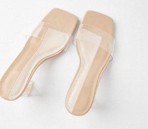 Женские босоножки на устойчивом прозрачном каблуке, виниловая союзка, цвет бежевый