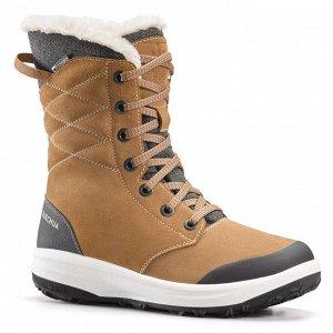Ботинки кожаные теплые водонепроницаемые походные женские SH500 U-WARM