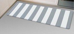 Двухсторонний ПВХ коврик для кухни и ванной Onebin Gray stripe S 75*44*1.4