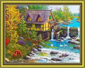 Алмазная живопись - мозаика Водяная мельница