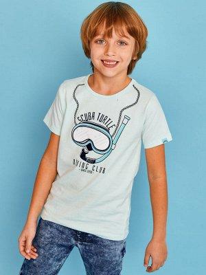 Фуфайка 95% хлопок, 5% эластан Фуфайка (футболка) д/мал Juno E38512-35COZ Surfing голубой