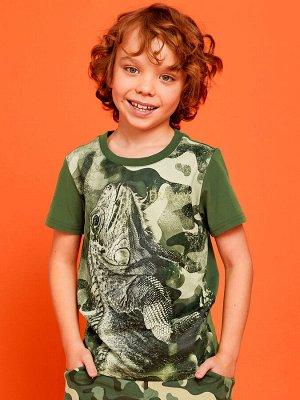 Фуфайка 100% хлопок Фуфайка (футболка) д/мал Juno SS21BJ624 Chameleon хаки